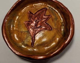 Earthy Gold Polyler Clay Leaf Ring Dish