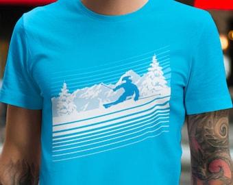 Ski Tshirt, Ski Lover Gift, Skiing Blouse, Winter Sports Shirt, Valentine's Day Gift For Him, Cotton Blue Tee, Gift for Skier, Men Clothing
