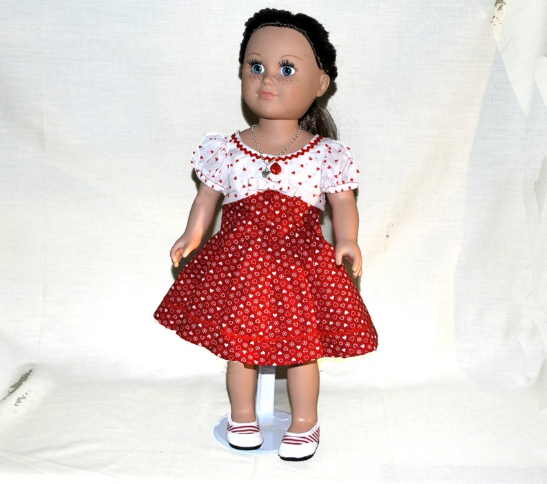 """Springfield Doll Clothes-Red//Black//White Dot Dress-fits American Girl//18/"""" doll"""