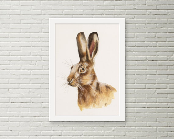 HARE PAINTING PRINT Christmas present gift art from watercolour rabbit size A4