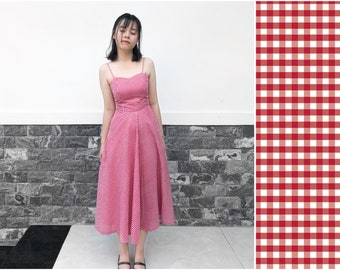 35181330e CLARA DRESS - gingham picnic, summer cotton, sweetheart neckline, full  circle skirt, prom, spaghetti strap, vacation, plus size vintage, xs