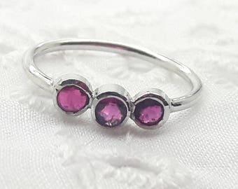 Sterling Silver Ruby Ring/July Birthstone/Handmade/Valentines/Christmas/Anniversary/Birthday/Free Shipping US