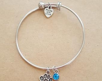 Silver Paw Bangle Bracelet, Paw Bracelet, Dog Paw Bracelet