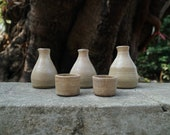 Handmade Pottery. Sake Set Container 2 cups