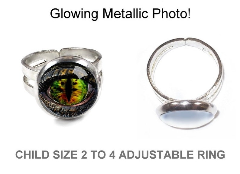 Handmade in the USA Real Ring with Glass Cabochon Ring for Boys or Girls Kids Dragon Eye Ring Gift for Little Boy or Girl