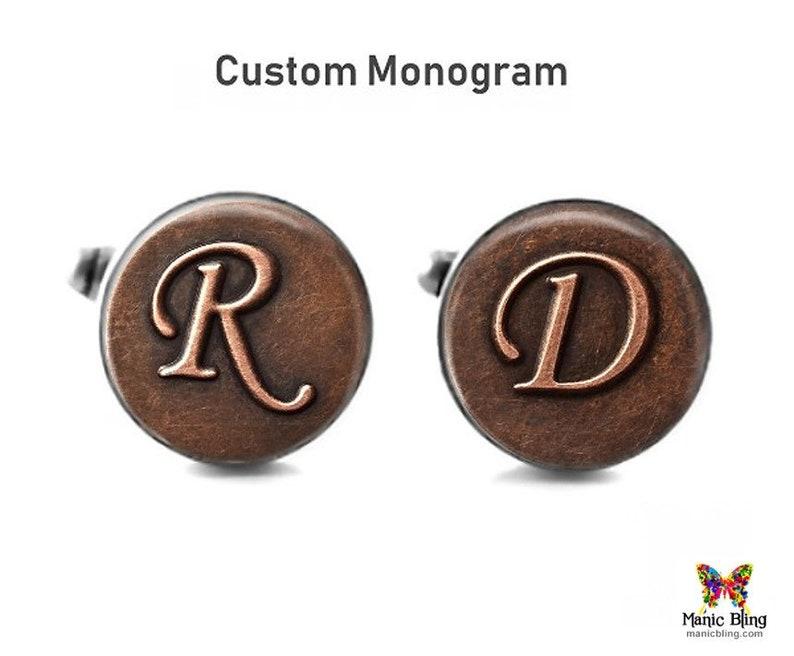 Custom Initial Cufflinks Made in USA Stainless Steel and Glass Art Cufflinks