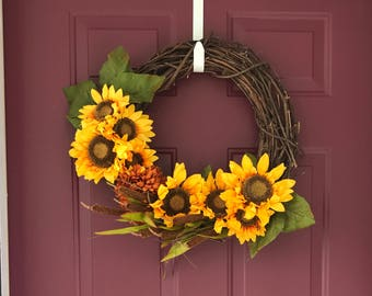 Fall Wreath For affront Door With Sunfowers and Cattails- Grapevine Wreath