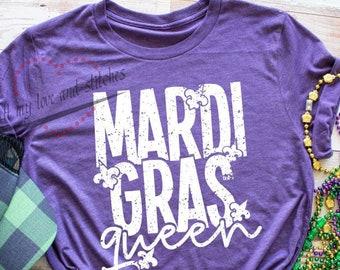 Mardi Gras Queen of Diamonds Purple Adult T-Shirt