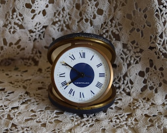 Vintage Westclox Germany Travel Alarm Clock, 1940's, Blue Leather Case, Clock Collector, Home Decor, Farmhouse Decor, Decorative Objects