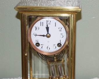 Antique 1890 Ansonia Brass Mantel Clock, USA, Clock Collector, Home Decor, Shabby Chic, Bobo Style, Decorative Objects, Home Accents