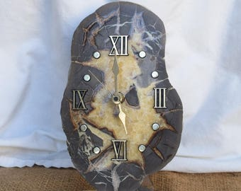Vintage Druzy Stone Tochigi Tokei Co. Clock, Japan Movement, 1970's, Clock Collector, Home Decor, Shabby Chic, Bobo Style, Stone Clocks
