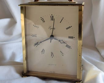 Vintage Equity Quartz Brass Carriage Desk Clock, 1960's, Clock Collector, Home Decor, Shabby Chic, Bobo Style, Decorative Objects, Clocks