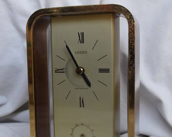 Vintage Linden Westminster Brass Clock, Battery Operated, Made in Japan, 1970's, Clock Collector, Home Decor, Shabby Chic, Bobo Style, Boho