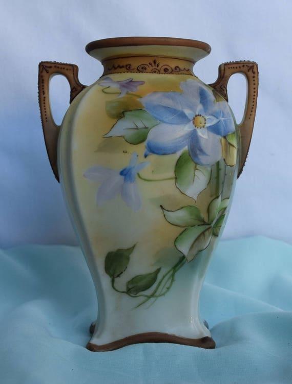 Antique Morimura Bros Nippon Porcelain Hand Painted Vase Etsy