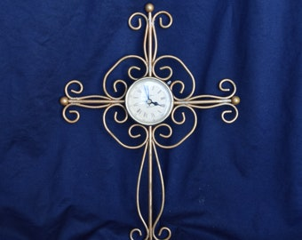 Vintage Richard Ward Winchester Quartz Clock, Gold Tone Metal Cross Clock, 1970's, Religious Clock, Christian Clock, Clock Collector, Cross