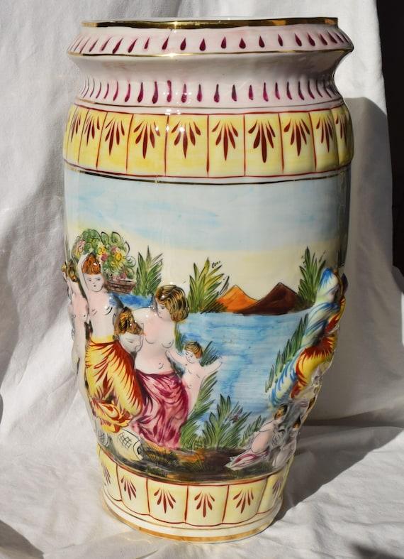 Capodimonte Scenic Porcelain Floor Vase Umbrella Stand Urn | Etsy on orange floor vase, mid century orange ceramic vase, floor candle holder vase, wicker floor vase, floor urn vase, floor glass vase,