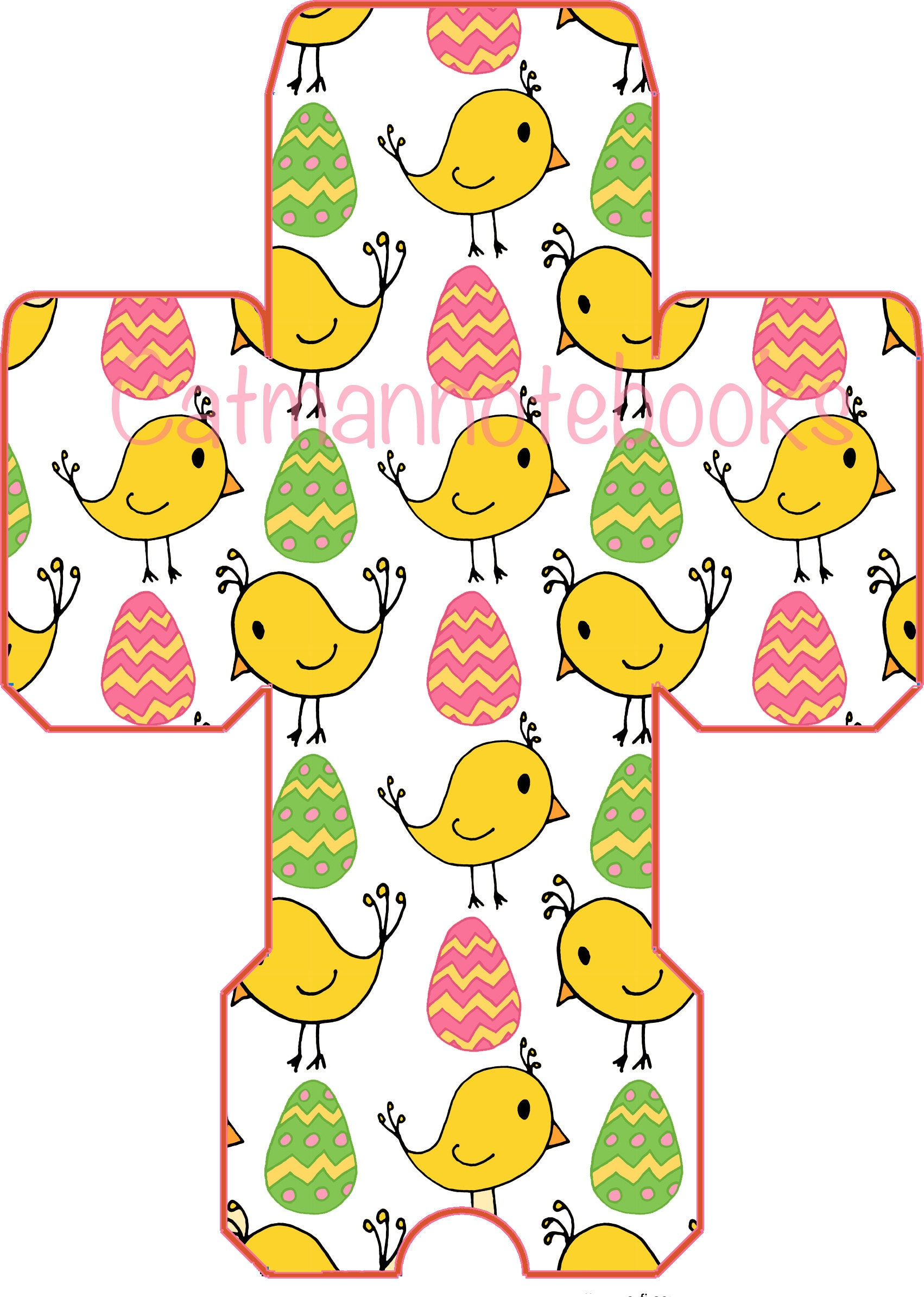 Cute Easter Eggs And Chicks Favor Box Template Etsy