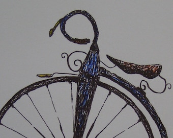 hand colored print of an original drawing of a penny farthing bike