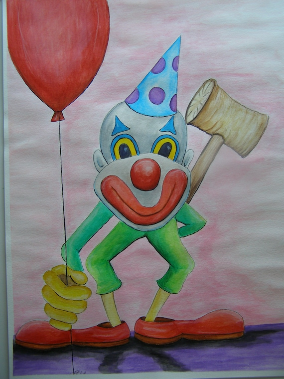 creepy clown with balloon and over sized wooden hammer etsy