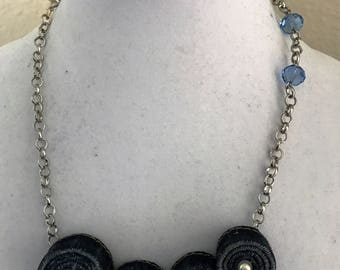 Silver color chain and recycled denim and glass beads necklace.