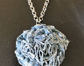 Silver color chain and recycled blue denim rose pendant Necklace.
