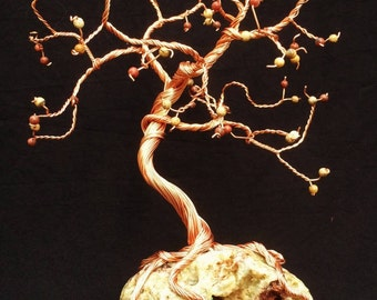 Handmade Copper Wire and Rock - Twisted Bare Tree Sculpture (93)