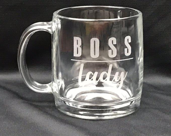 Featured listing image: Boss Lady / Personalized Coffee Mug / Custom Glass Mug