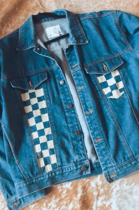 90s jean jacket, vintage jean jacket, painted deni