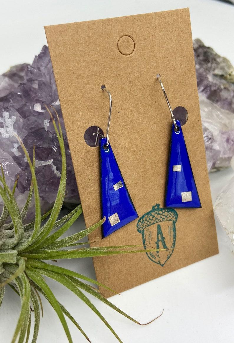 Blue Enamel Double Square Dangle Earrings