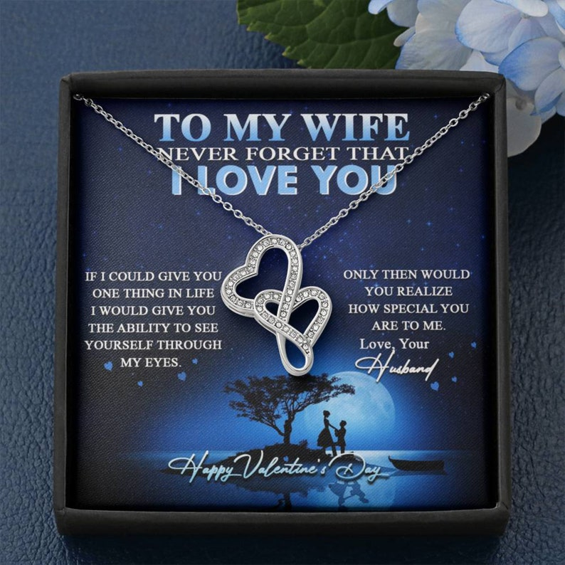 To my wife Double Hearts Necklace Jewellery .Valentine Wedding Engagement Anniversary Birthday Gift
