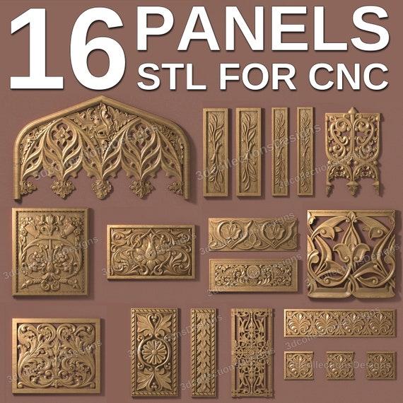 3d stl model cnc router artcam aspire 7 pcs panel pack flower basrelief
