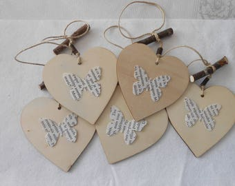 Set of 5 hearts home decor wood and paper