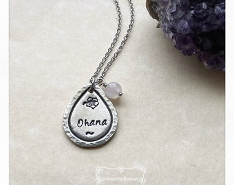 Hand-stamped  Ohana Gemstone Necklace   Disney Lilo and Stitch Inspired Fine Pewter  Hypo-Allergenic Handmade Pendent  Ohana Means Family  