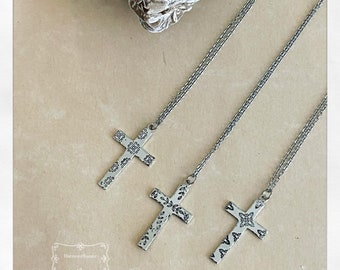 Handmade Cross Necklaces   Handstamped Cross   Leaves and Vines   Southwest Cross   Catholic Cross Necklace   Hypoallergenic   Silver