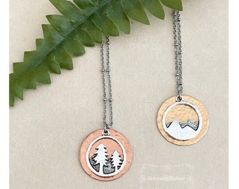 Hammered Mountain Mixed Metal Necklace   Pine Tree Mixed Metal Necklace  Hypoallergenic Organic Copper Pewter Bronze Handmade