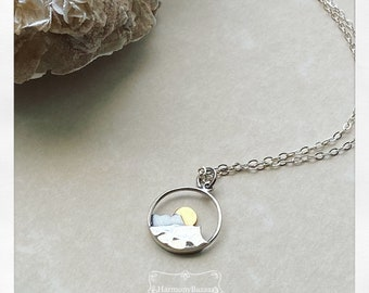 Hammered Mountain Sterling Charm Necklace   Mountain Life Necklace   Sun and Mountains Sterling Silver Necklace   Hypoallergenic