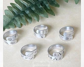 Handmade Mountain Range Wrap Ring   Hand-stamped Organic Ring  Lotus Pine Trees Dandelions Moon Phase Ring   Hypo-Allergenic Aluminum Ring
