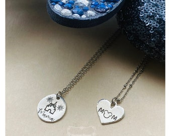Handmade Magical Mama Necklace   Hand-stamped Disney Inspired Mom Necklace   Hypoallergenic Mothers Day Theme Park Necklace   Disney Mom