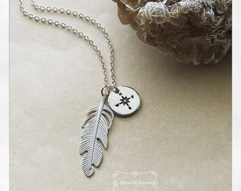 Hand stamped Wanderlust Feather Compass Necklace   Silver Gold Boho Necklace  Travel Graduation Gift   Traveler