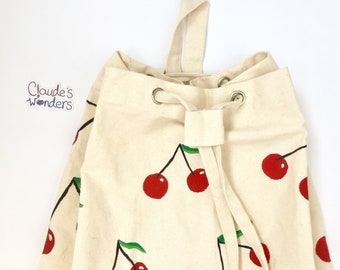 fca27f8b4d Cherries hand painted backpack. Fresh fruit design. Natural cotton canvas  backpack. Festival and summer wear. Summery design. Fruit pattern