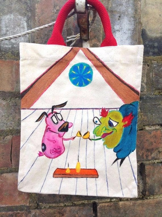 Courage The Cowardly Dog Hand Painted Small Tote Courage And Etsy