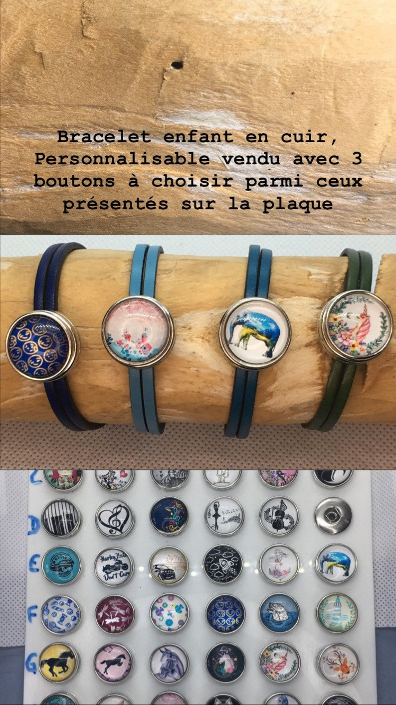 ref:be4 Leather child bracelet customizable with interchangeable pressures sold with 3 buttons of choice