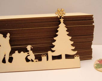Christmas scene 1930 embellishment wooden creations