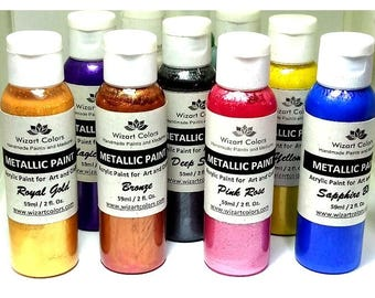 60ml jar Premium Acrylic Metallic Paint and patina for art and craft gold silver bronze pink blue purple yellow green red and more to choose