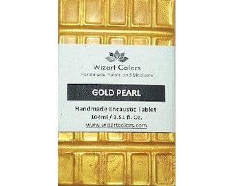 Encaustic Gold Pearl Tablet Wax Paint made of beeswax and best damar resin