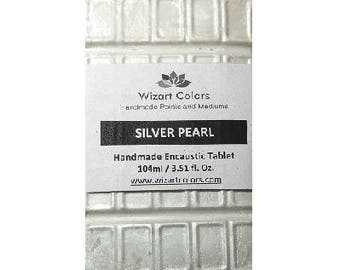 Encaustic Silver Pearl Tablet Wax Paint made of beeswax and best damar resin