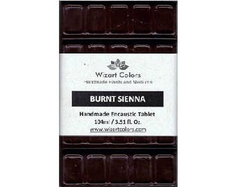 Encaustic Burnt Sienna Tablet Wax Paint made of beeswax and best damar resin