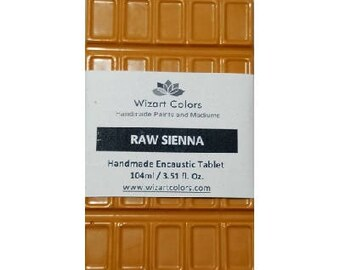 Encaustic Raw Sienna Tablet Wax Paint made of beeswax and best damar resin
