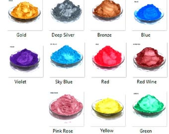 Wizart Colors Sparkle MICA SET 0f 11 COLORS. Best sparkling shimmery pigments for Candle making, Soap Making, Nail Art, Painting