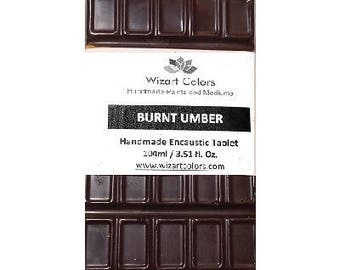 Encaustic Burnt Umber Tablet Wax Paint made of beeswax and best damar resin